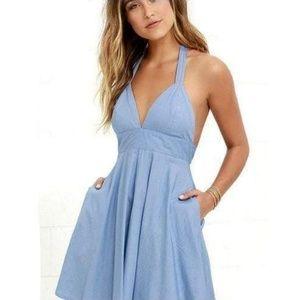 BB Dakota Baby Blue Halter Dress Medium